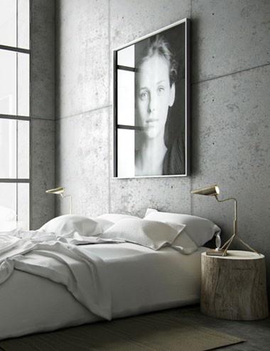 hormigón arquitectónico en el dormitorio