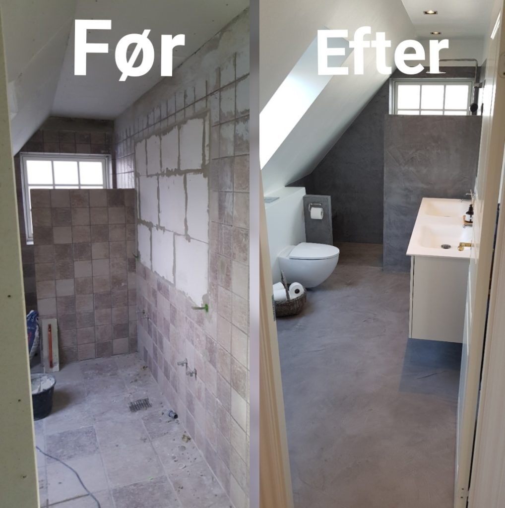 microcement bathroom renovation - before and after