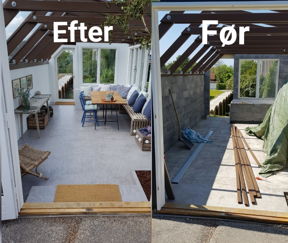 microcement winter garden renovation - before and after